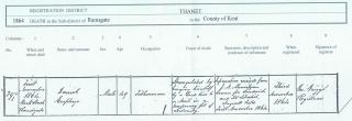 Daniel Clarke Emptage death certificate 1st November 1864