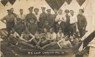 Edward Lindsey Emptage at Cheriton Camp Royal Engineers 1914.jpeg