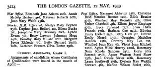 London Gazette Eileen Clerical Asssitant, Grade 1, certificate of qualification April 1939 copy.jpg