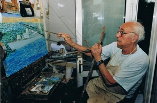 Frank Sidney Smith painting in his studio