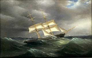 Brig Ephratah in a Storm by Antonio de Simone
