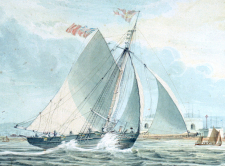 A cutter beating to windward outside Portsmouth Harbour, inscribed To Lieut Hopkin cropped
