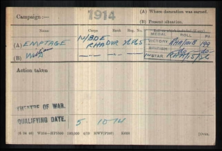 1914 William Alfred Emptage medal card cropped